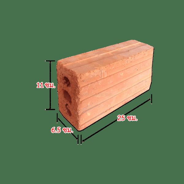 108T อิฐแดง 3 รู ขนาด 6.5X11X25 ซม. มอก.153-2540