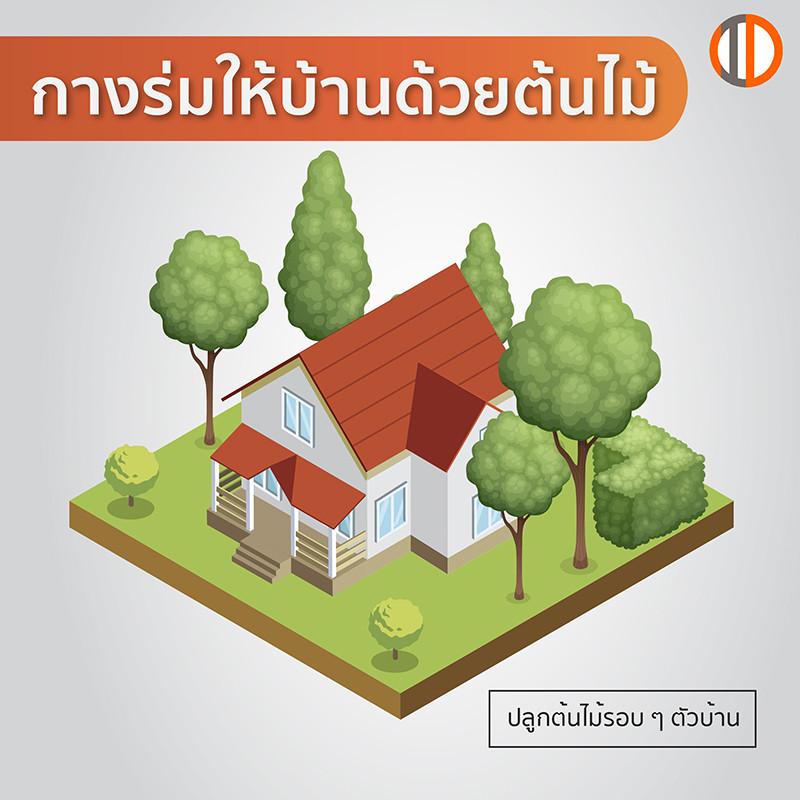 สร้างบ้านประหยัดพลังงาน ช่วยลดภาวะโลกร้อน ด้วยการกางร่มให้บ้าน ด้วยการปลูกต้นไม้