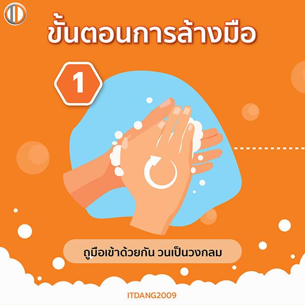 วิธีล้างมือขั้นตอนที่ 1