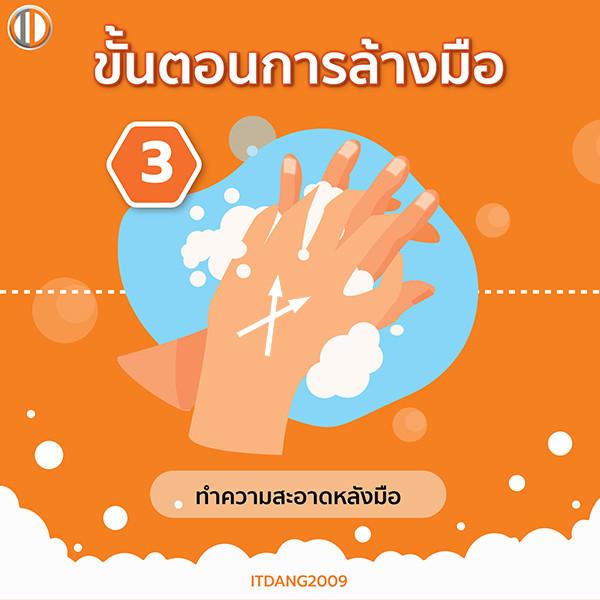 วิธีล้างมือขั้นตอนที่ 3