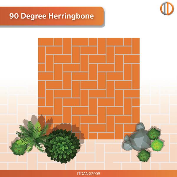 การใช้อิฐแดงปูพื้น รูปแบบ 90 Degree Herringbone