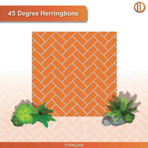 การใช้อิฐแดงปูพื้น รูปแบบ 45 Degree Herringbone