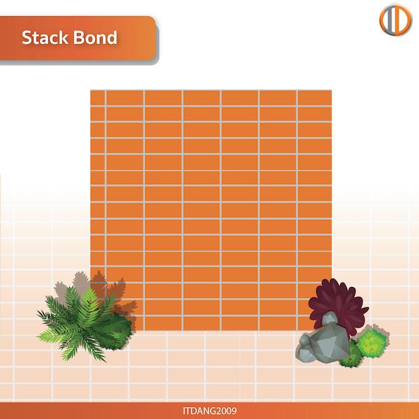 การใช้อิฐแดงปูพื้น รูปแบบ Stack Bond
